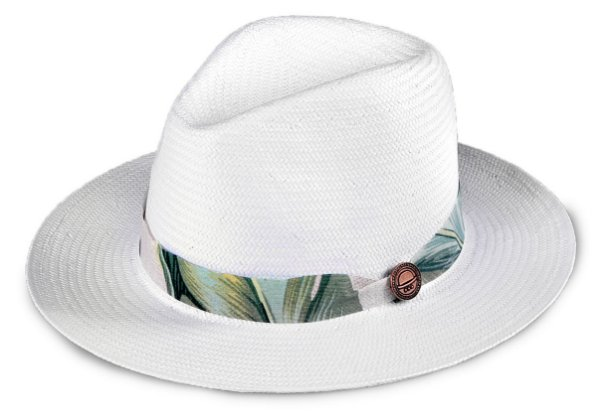 Chapéu Estilo Panamá Aba Média Palha Shantung Branco Flower Verde e Bege