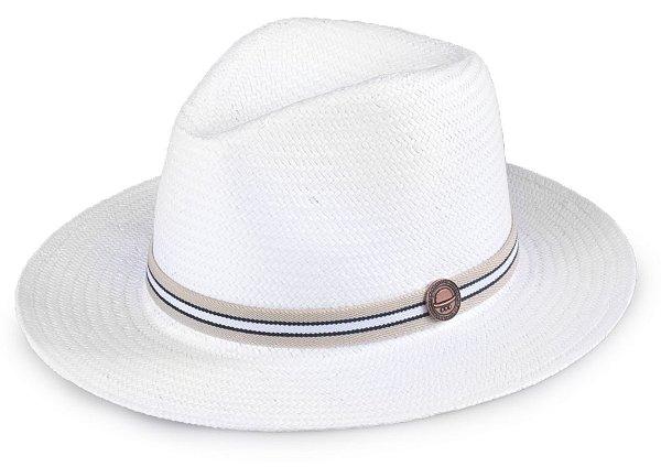 Chapéu Palha Shantung Branco Aba Média 7cm Faixa Bege e Preto