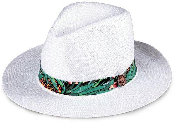Chapéu Palha Shantung Branco Aba Média 7cm Flower Abacaxi