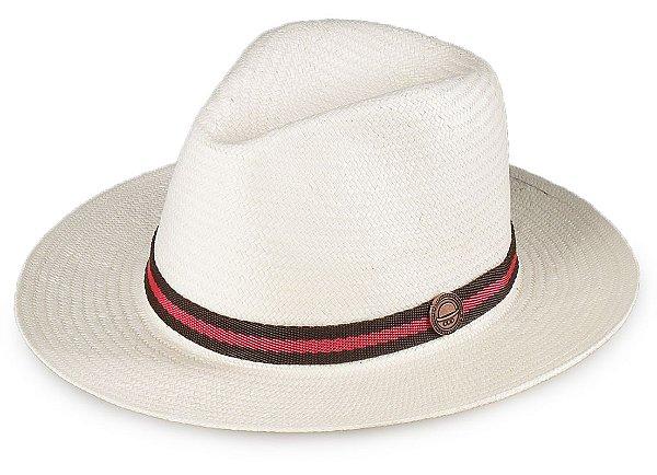 Chapéu Estilo Panamá Aba Média Palha Shantung Natural Faixa Marrom e Vermelho