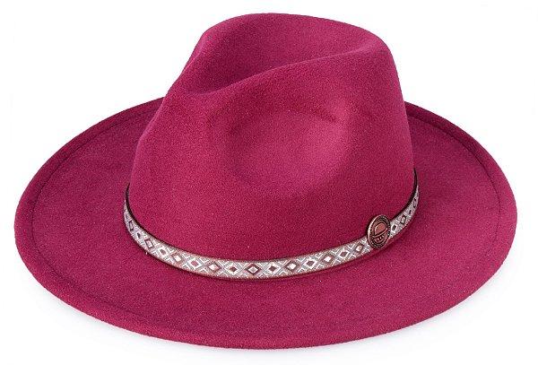 Chapéu Fedora Vinho Aba Reta 8cm Faixa fina estampada