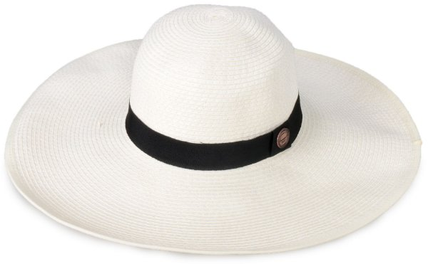 Chapéu de Praia Palha creme Aba Grande Maleável 12,5 cm
