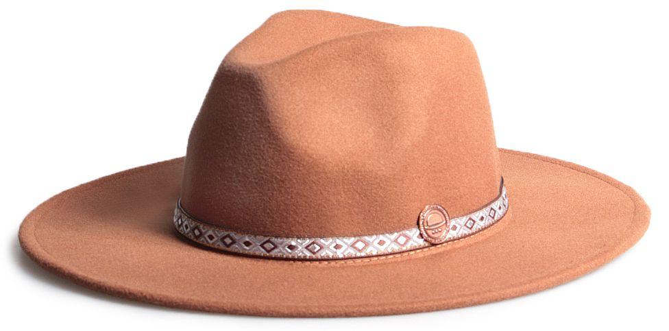 Chapéu Fedora Caramelo Aba Reta 8cm Faixa Ethnic