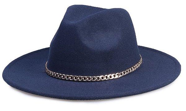Chapéu Fedora Azul Marinho Aba 8cm Corrente Dourada