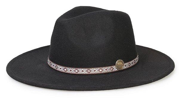 Chapéu Fedora Preto Aba 8cm Custom Faixa Marrom e Branco