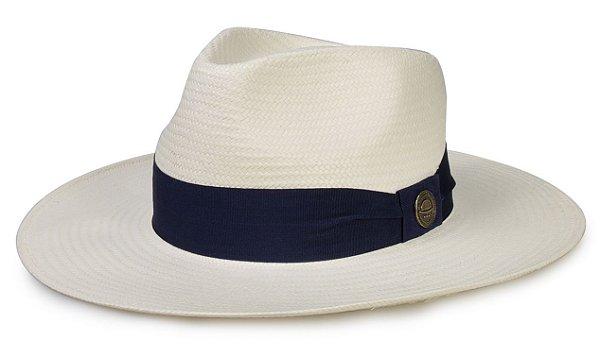 Chapéu Fedora Palha Natural Aba 8 cm Faixa Azul Marinho