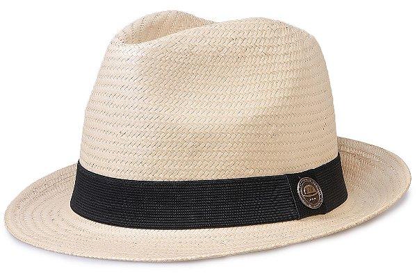 Chapéu de Palha Shantung Bege Aba Curta 4,5 cm
