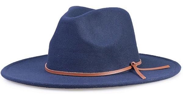 Chapéu Fedora Azul Marinho  Aba 8cm Couro V Caramelo