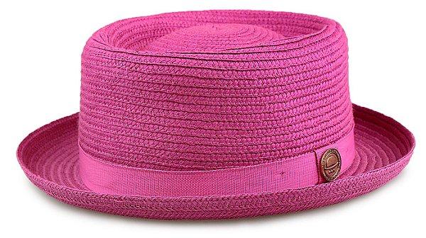 Chapéu Pork Pie Pink Palha Especial Aba curta 4,5 cm