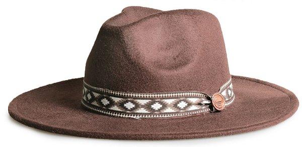 Chapéu Fedora Marrom Aba 8cm Faixa Incas