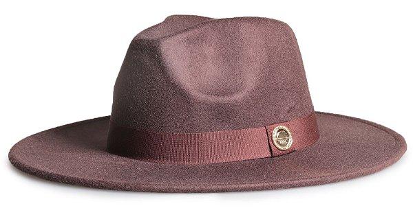 Chapéu Fedora Marrom Aba 8cm Faixa Marrom Logo Dourado