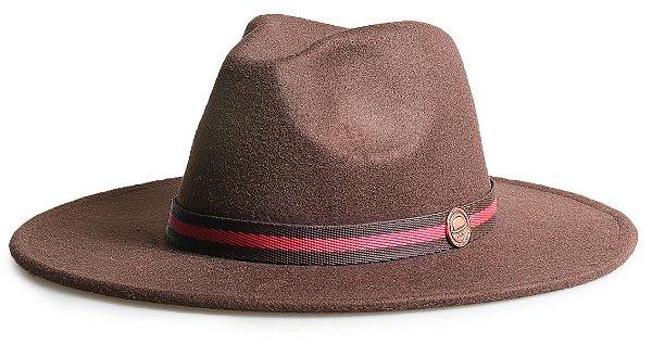 Chapéu Fedora Marrom Aba 8cm Faixa Marrom e Vermelho
