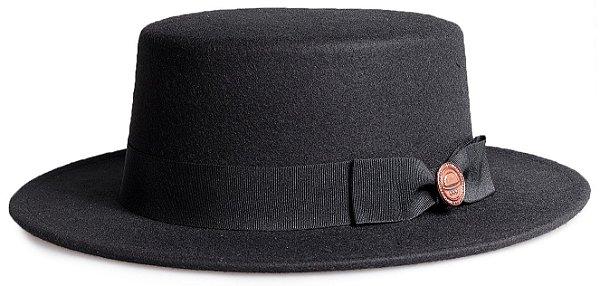 Chapéu Palheta Preto Aba 5,5cm Laço