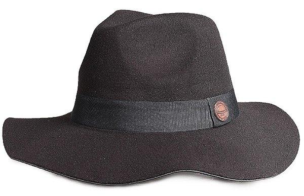 Chapéu Fedora Preto Aba Maleável 7 cm