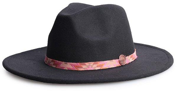 Chapéu Fedora Vinho Aba 8cm Faixa Incas Rosa