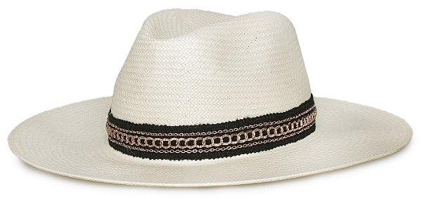 Chapéu Fedora Palha Aba Grande 9 cm Faixa Preta e Dourado