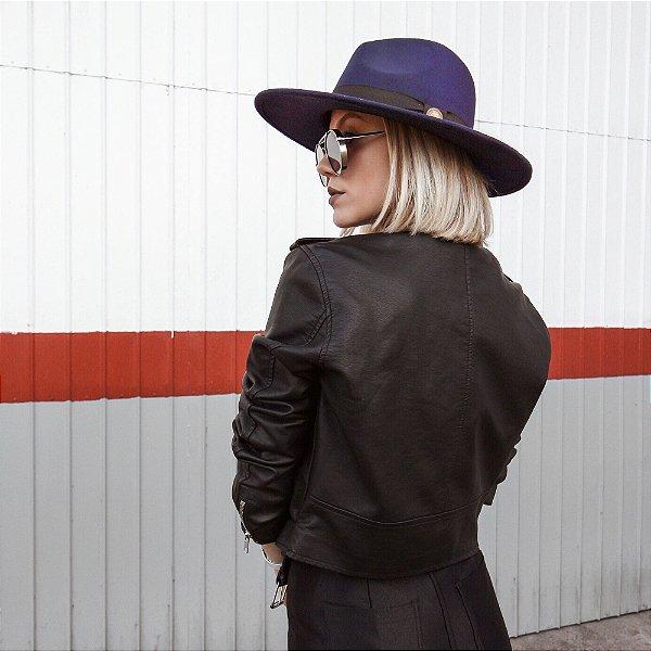 Chapéu Azul Marinho Fedora Aba Reta 8cm