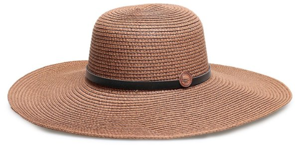 Chapéu de Palha Marrom Couro Preto Aba Grande