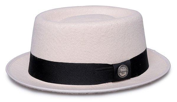 Chapéu Pork Pie Branco Aba curta 4,5cm RB