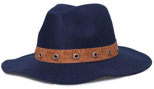 Chapéu Fedora Azul Marinho Maleável Faixa Nobuck Caramelo