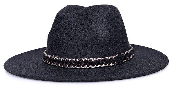Chapéu Fedora Preto aba 8cm Faixa Algodão com Lurex
