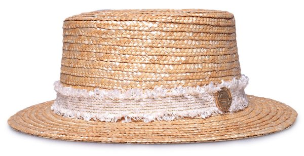Chapéu Palheta Boater Palha Dourada Faixa Frayed Branca
