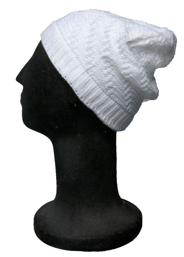 Touca Gorro Branca Trico Diagonal