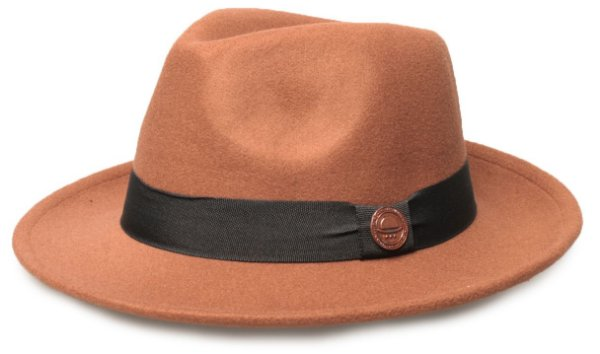 Chapéu Fedora Caramelo Aba Média 6cm