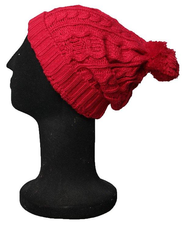 Touca Vermelha Tallin Beanie Trico Pompom