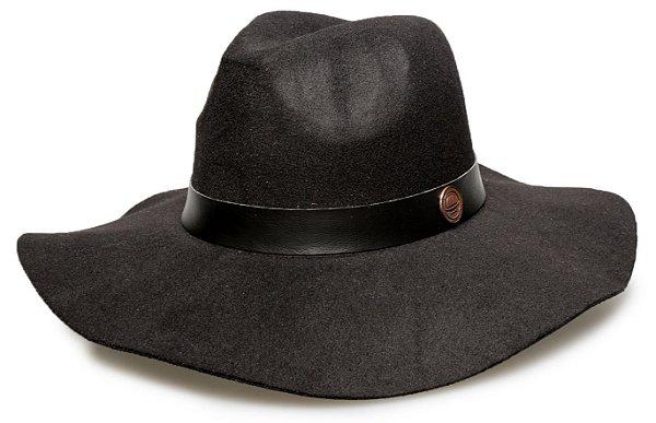 Chapéu Fedora Preto Aba Grande Maleável Coleção Couro
