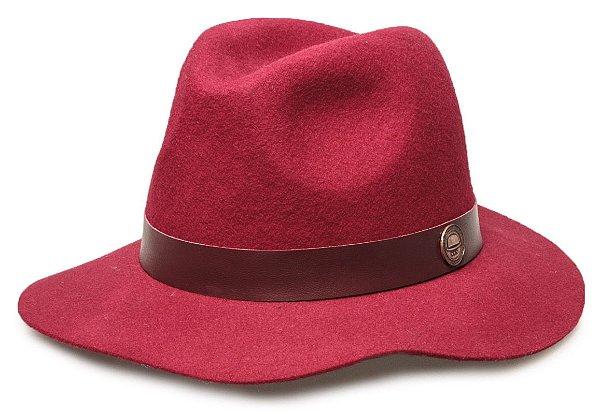 Chapéu Fedora Vinho 100% lã Aba Maleável 7cm Coleção Couro
