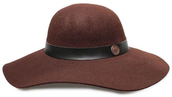 Chapéu Floppy Marrom 100% Lã Aba 10cm Coleção Couro