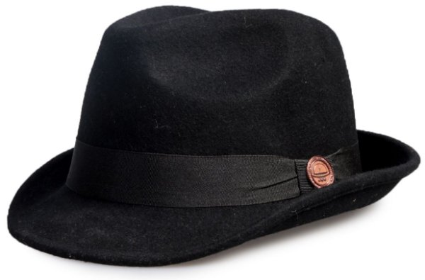 Chapéu Fedora Preto 100% Lã Aba Curta 4,5cm