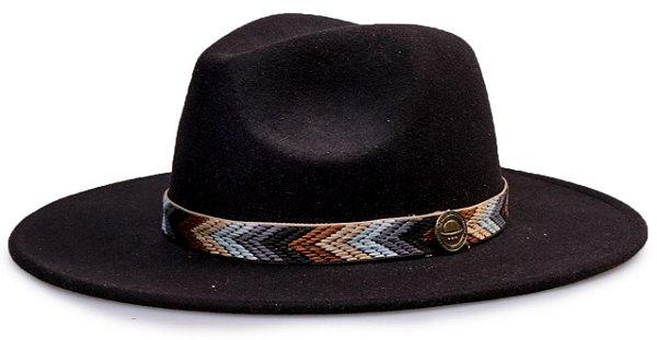 Chapéu Fedora Faixa Colorida Aba 8cm
