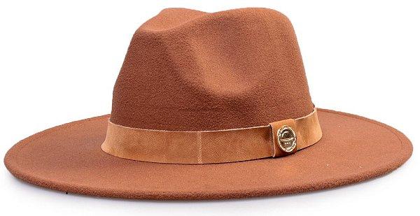 Chapéu Fedora Faixa Nobuck aba 8cm Caramelo