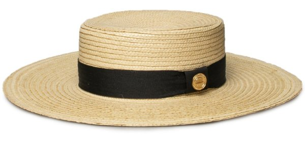 Chapéu de Palha Grande Boater Palheta Aba 10 cm