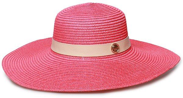 Chapéu de Praia Rosa Palha Aba Grande Coleção Couro