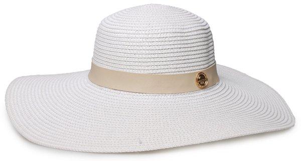 Chapéu de Praia Branco Palha Aba Grande Coleção Couro