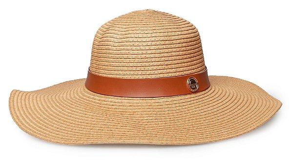 Chapéu Caramelo de Praia Palha Aba Grande Coleção Couro