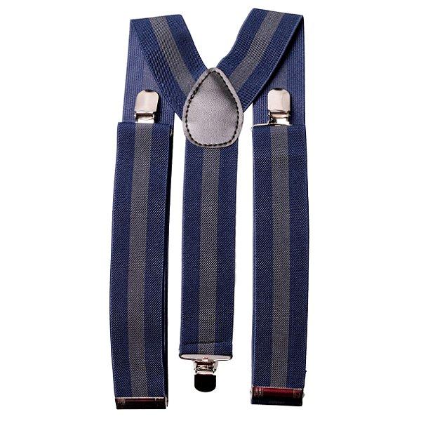 Suspensório Largo 3,5 cm Azul e Cinza
