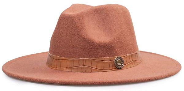 Chapéu Fedora Colors Aba 8cm Faixa Estampa Jacaré