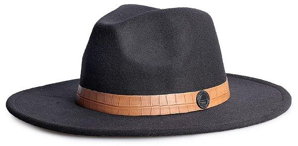Chapéu Fedora Preto Aba 8cm Faixa Estampa Jacaré