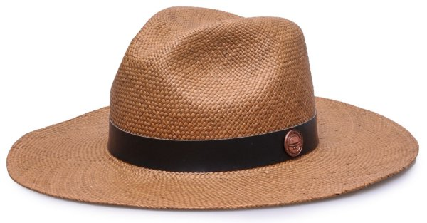 Chapéu Panamá Aba Grande Caramelo Couro preto