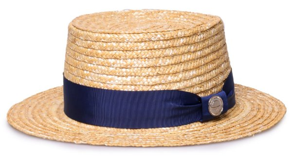 Chapéu Palha Dourada Palheta Aba Média 5,5 cm Faixa Gorgurão Azul