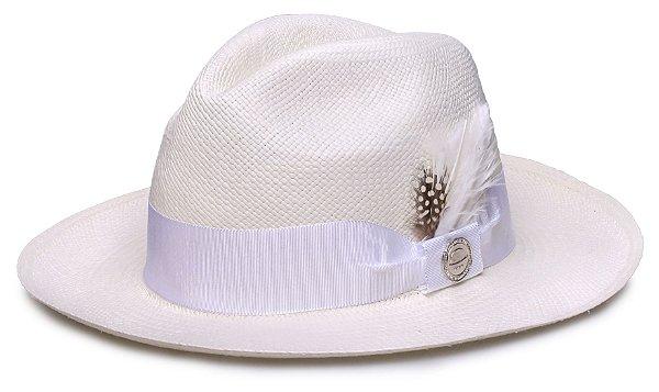 Chapéu Panamá Faixa Gorgurão Branca Penas