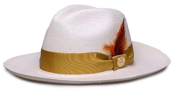 Chapéu Panamá Faixa Gorgurão Dourada Penas  Coloridas
