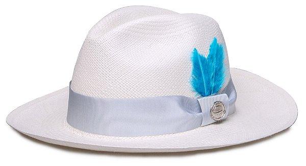 Chapéu Panamá Faixa Gorgurão Cinza Penas Azuis