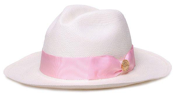 Chapéu Panamá Faixa Gorgurão Rosa