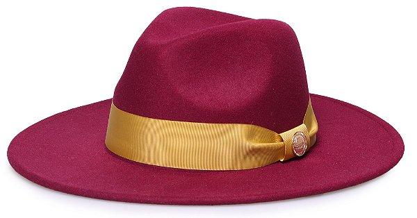 Chapéu Fedora Vinho Aba 8cm Gorgurão dourado