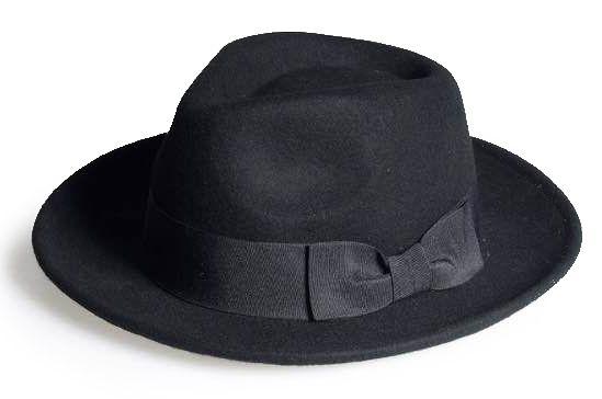 Chapéu Fedora Preto Aba 6cm Laço 100% Lã Super Macio